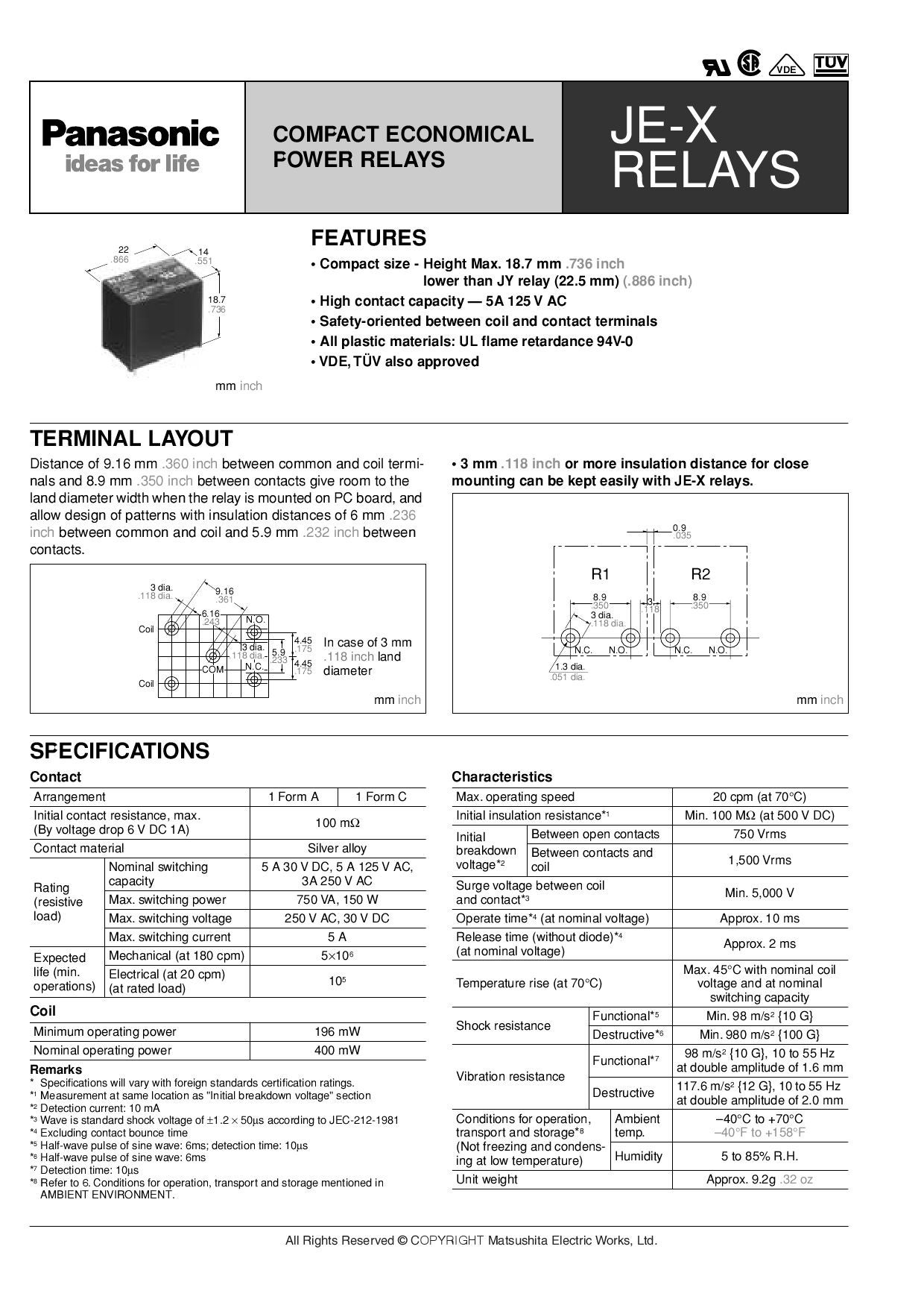 Panasonic Je X Relays By Synscon Issuu Relay Nominal Current