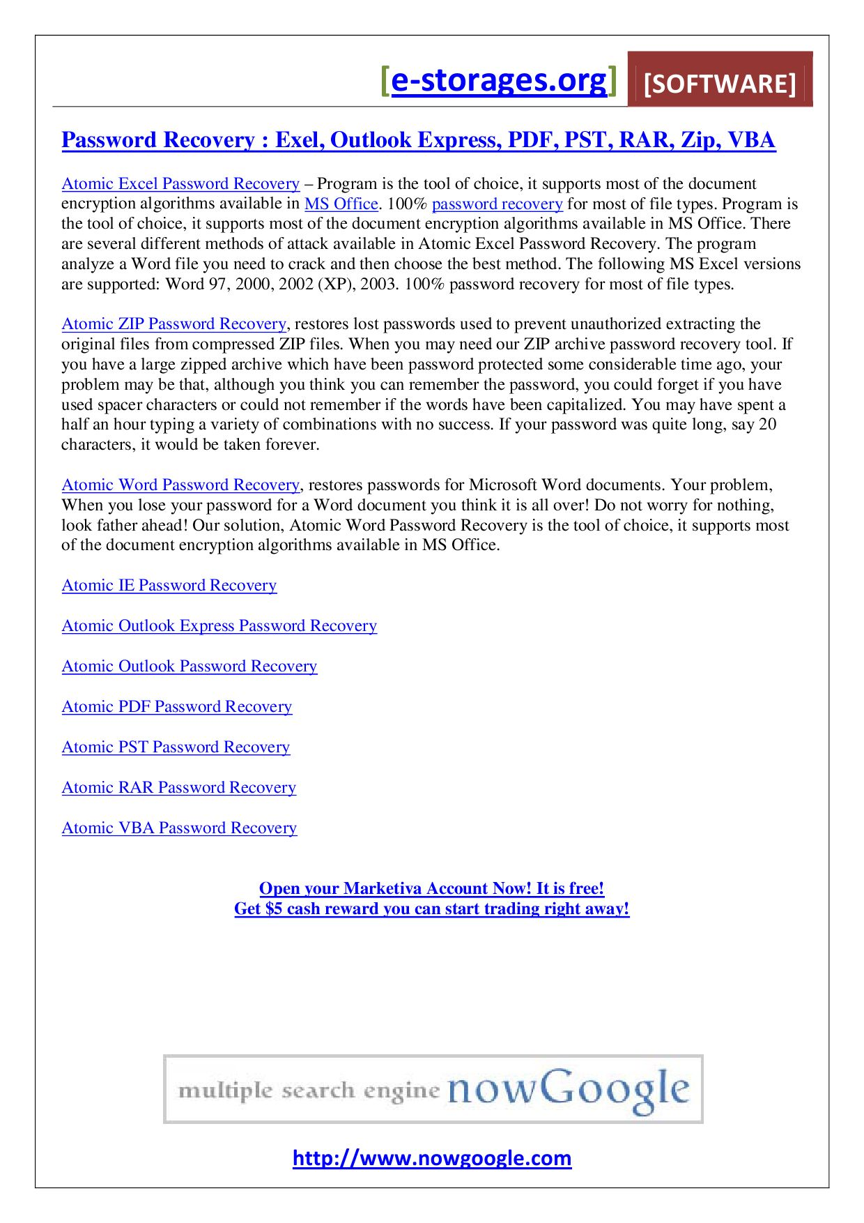 word document password recovery freeware