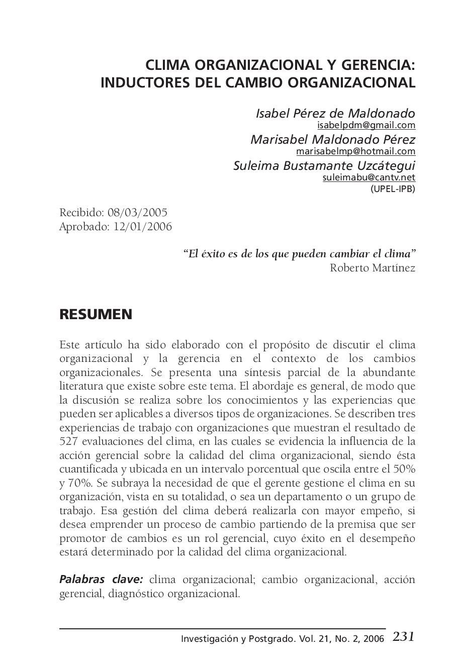 CLIMA ORGANIZACIONAL Y GERENCIA by DR. PPACH - issuu