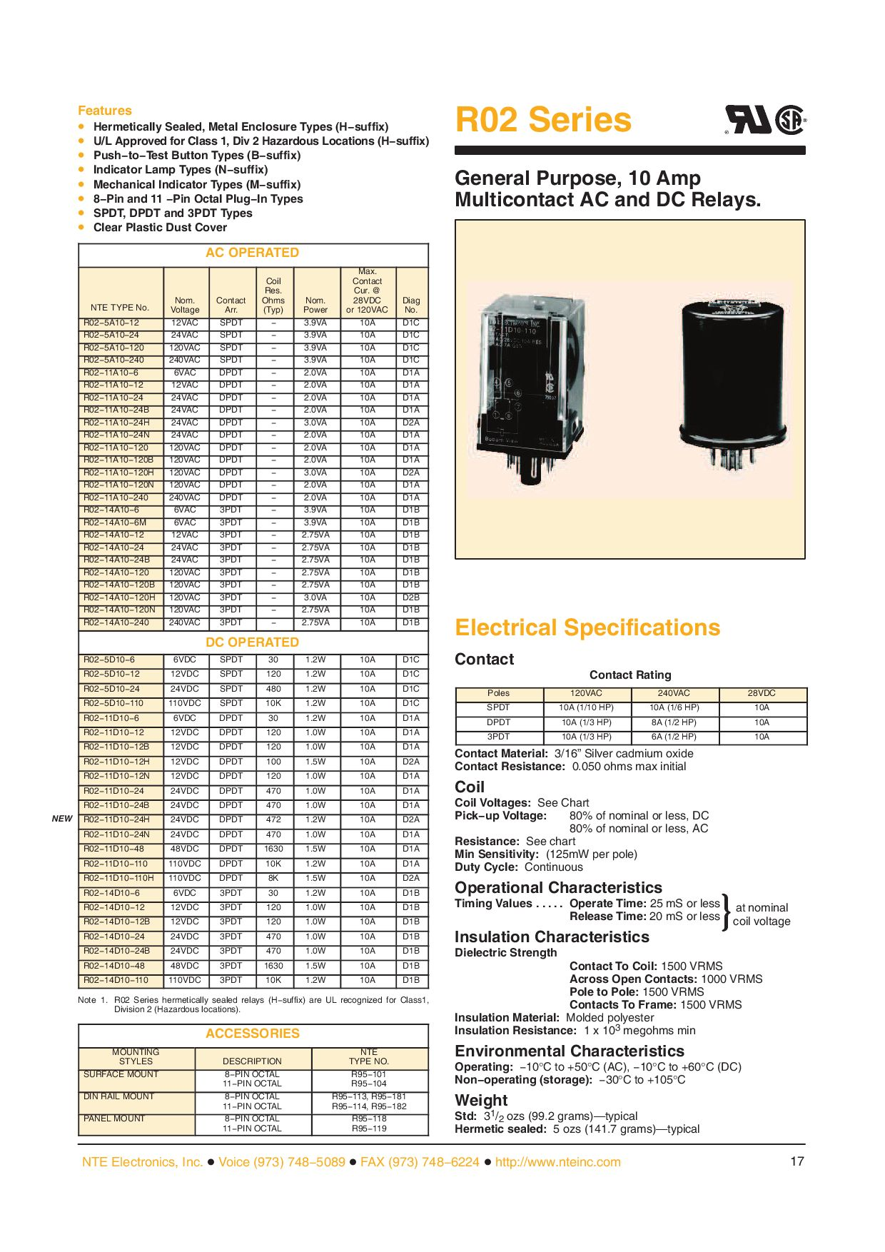 NTE Electronics R12-17D3-12 Series R12 General Purpose DC Relay