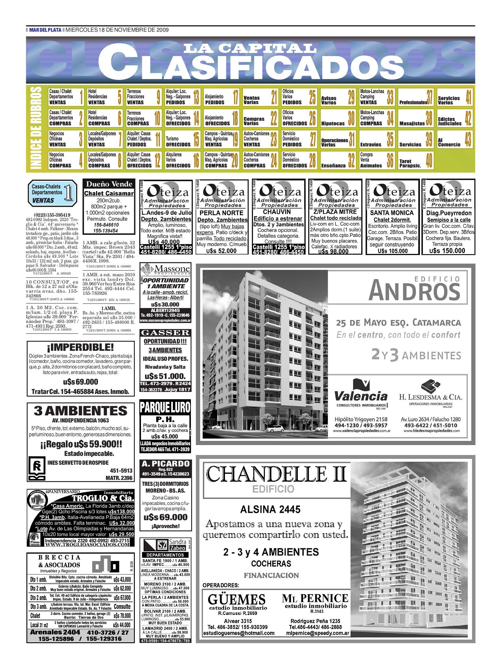 06cc1625a Clasificados Miércoles 18 de Noviembre by Diario La Capital - issuu
