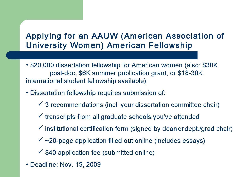 aauw american dissertation fellowships