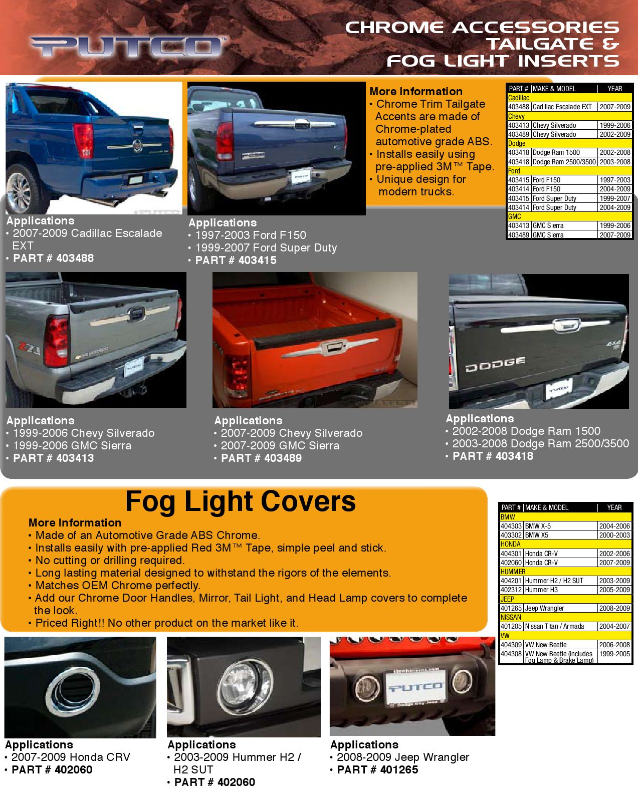 Putco 403418 Tailgate Accent Chrome 2008 Dodge Ram 3500