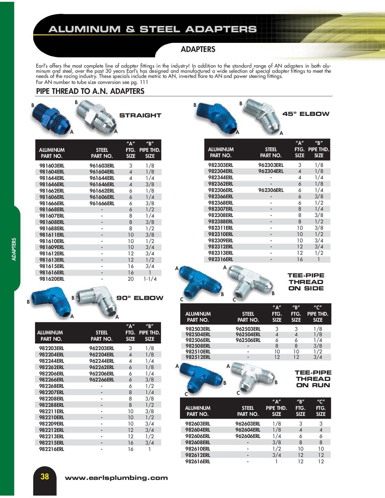 Earls 982310ERL Aluminum Adapter