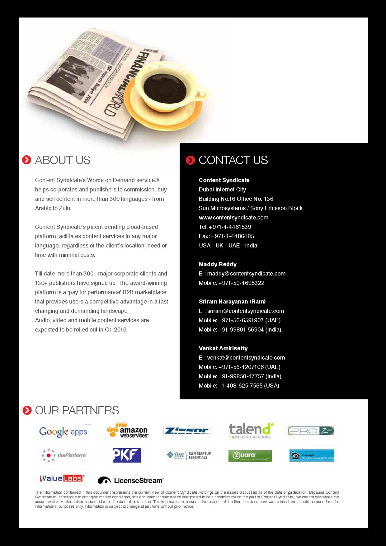 CS Platform Brochure by content syndicate - issuu