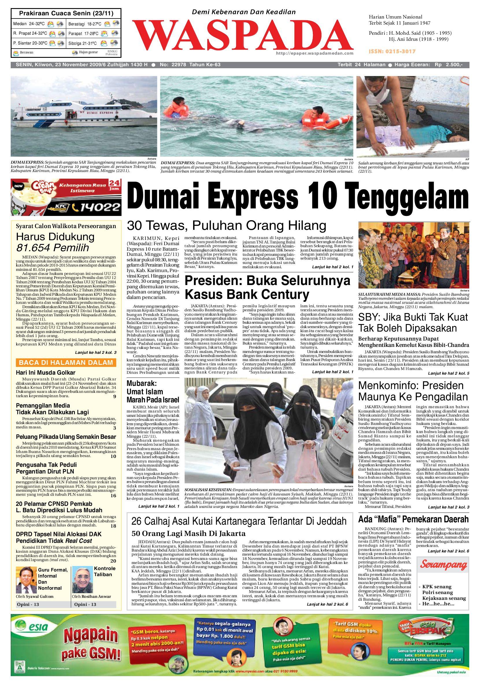 Waspada Senin 23 November 2009 By Harian Issuu Jam Tangan Qampampq A170 Original Bergaransi