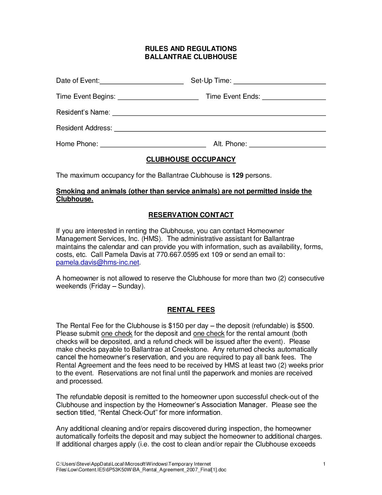 Clubhouse Rental Agreement By Stephen Page Issuu