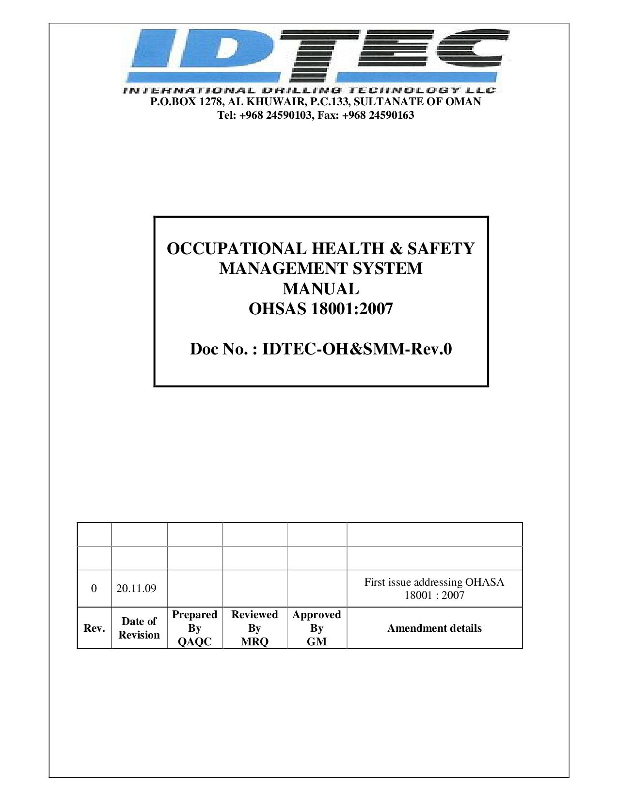ohsas 18001 health u0026 safety manual and procedures package ohsas 18000  store Array - ohsas by raja s issuu rh issuu ...