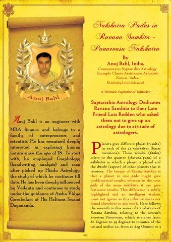 47-PunarvasuNakshatraPadasinRavanaSamhita by Saptarishis Astrology