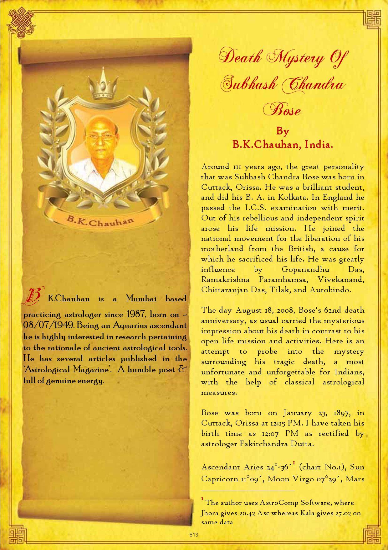 74-DeathMysteryOfSubhashChandraBose by Saptarishis Astrology