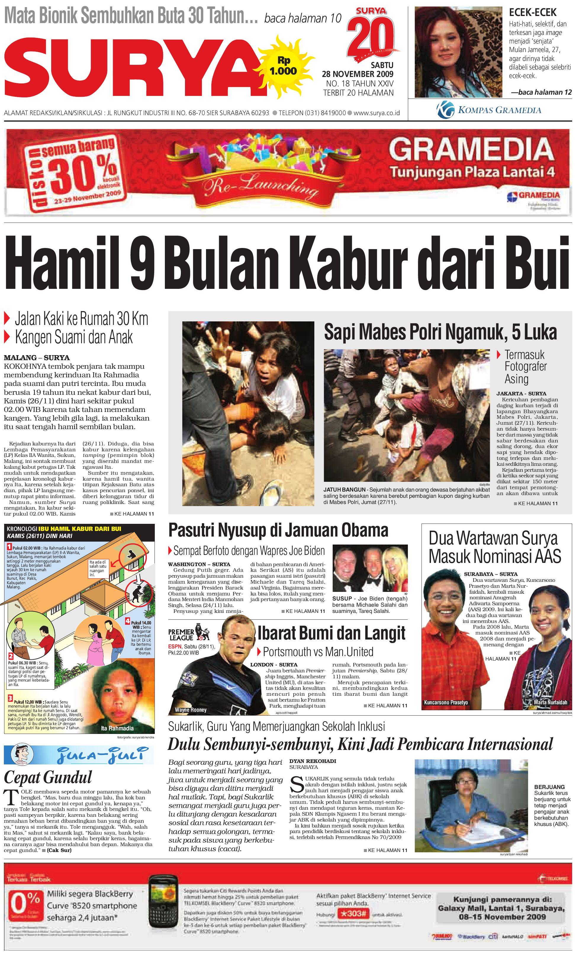 Surya Edisi Cetak 28 Nov 2009 By Harian Issuu Gendongan Bayi Depan Mbg 6201 Free Ongkir Jabodetabek