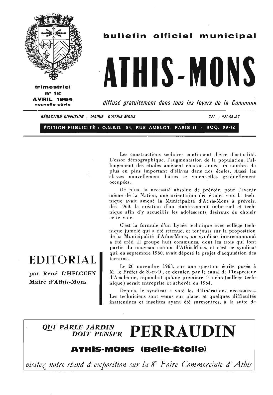 bulletin officiel municipal d 39 athis mons n 12 avril 1964 by karim loz s issuu. Black Bedroom Furniture Sets. Home Design Ideas