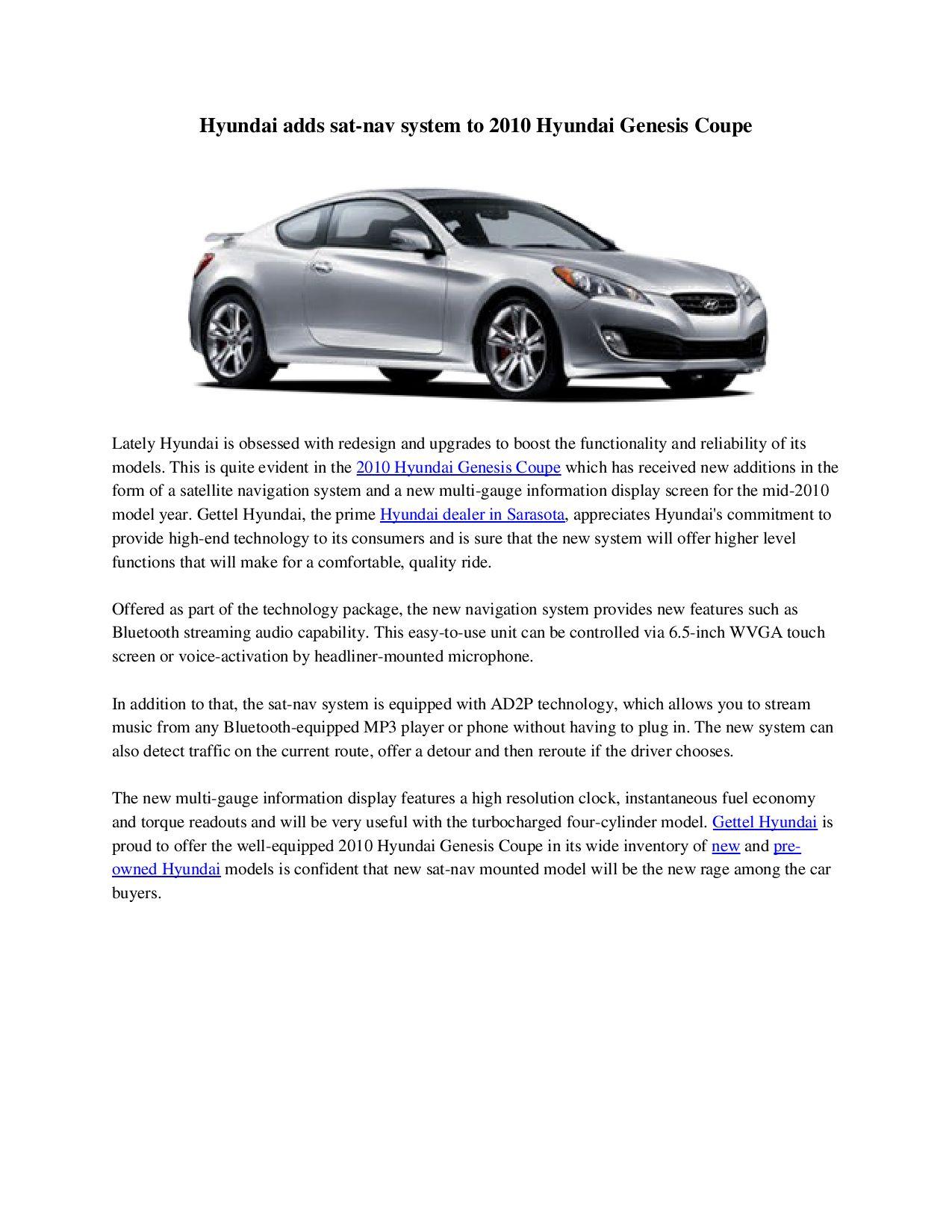 Gettel Hyundai Sarasota >> Sarasota Hyundai Dealer Hyundai Adds Sat Nav System To 2010