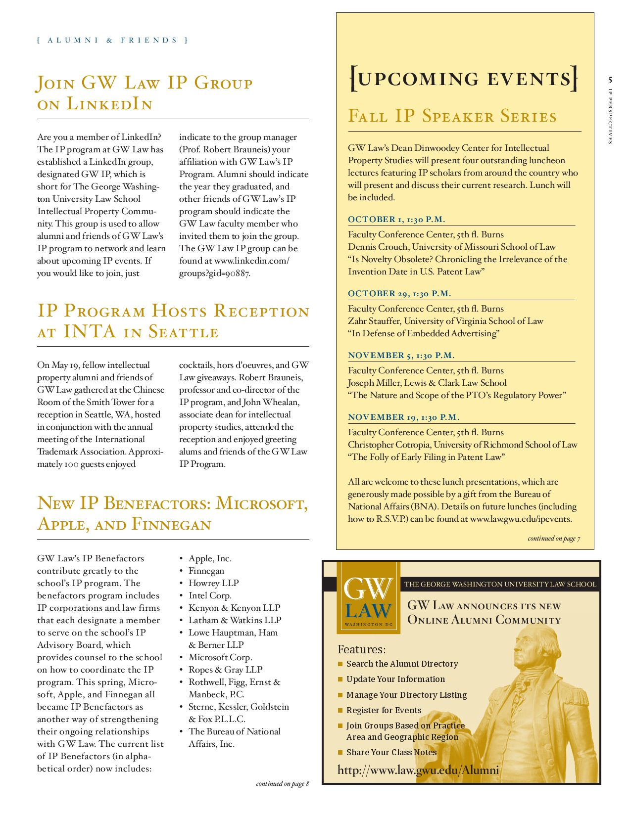09Fall_IP_Newsletter by The George Washington University Law School