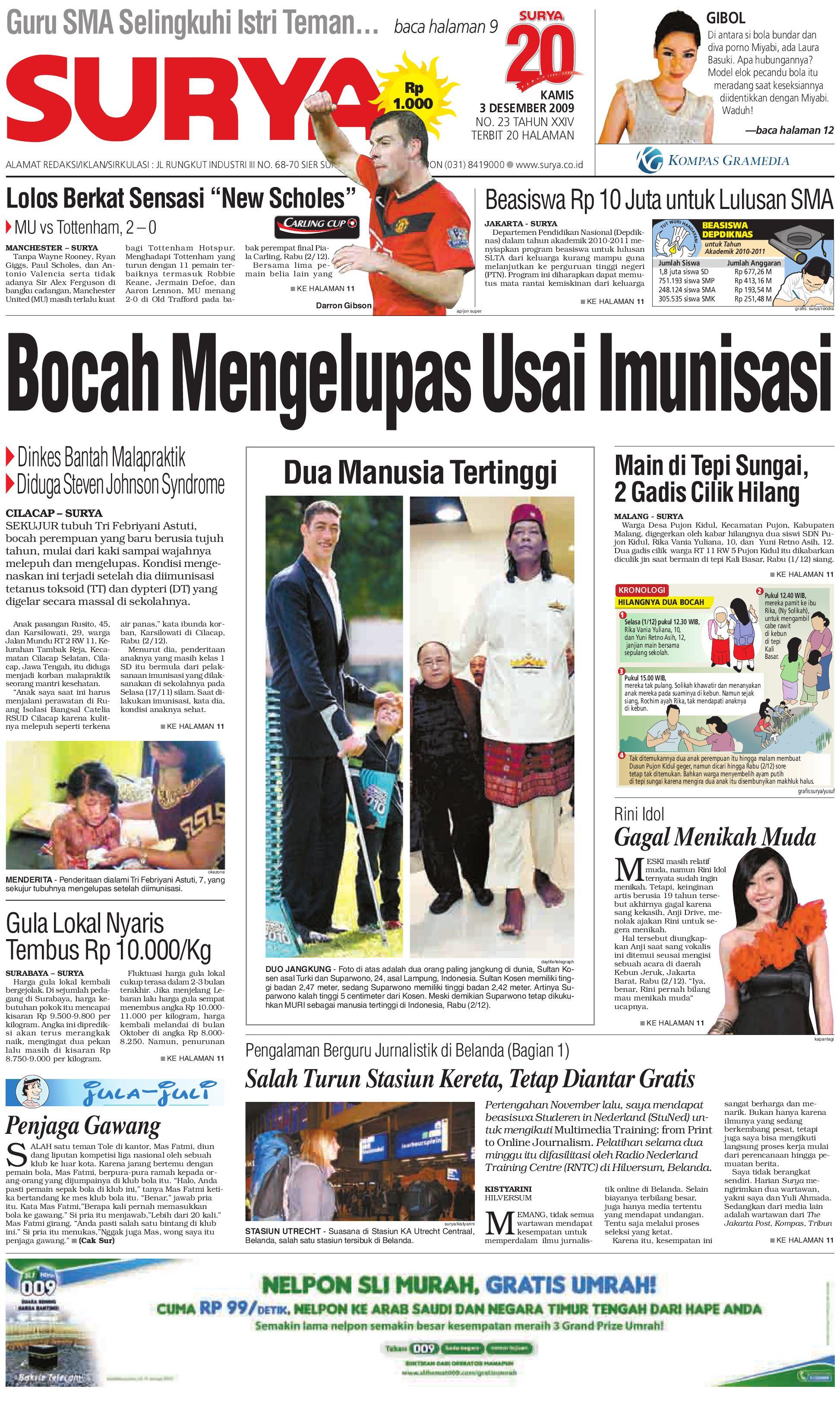 Surya Edisi Cetak 03 Des 2009 By Harian Issuu Lgs Regular Fit Kaos Casual Gambar Samar Abu Muda L