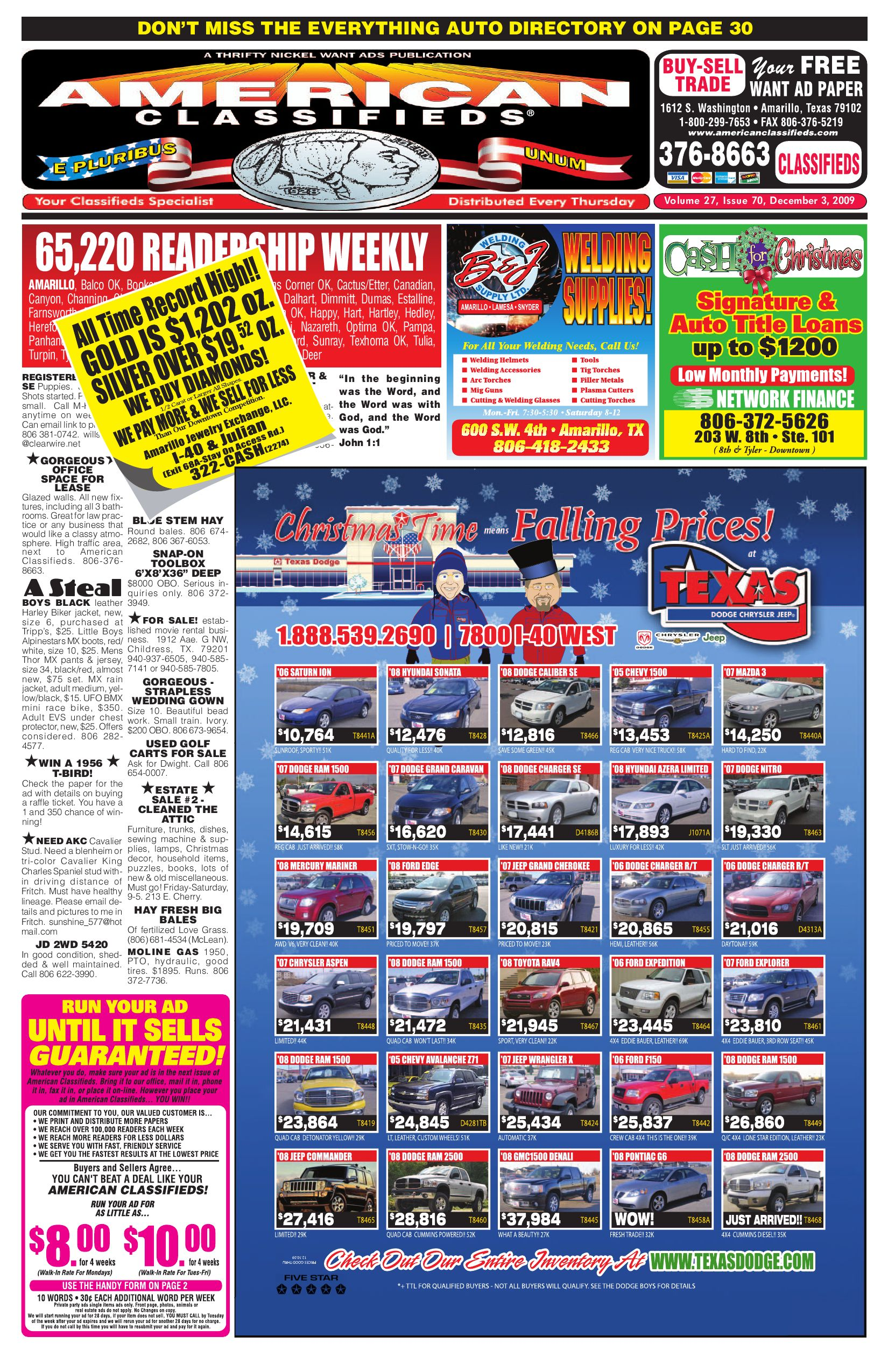 American Classifieds | Amarillo, TX | Dec 3, 2009