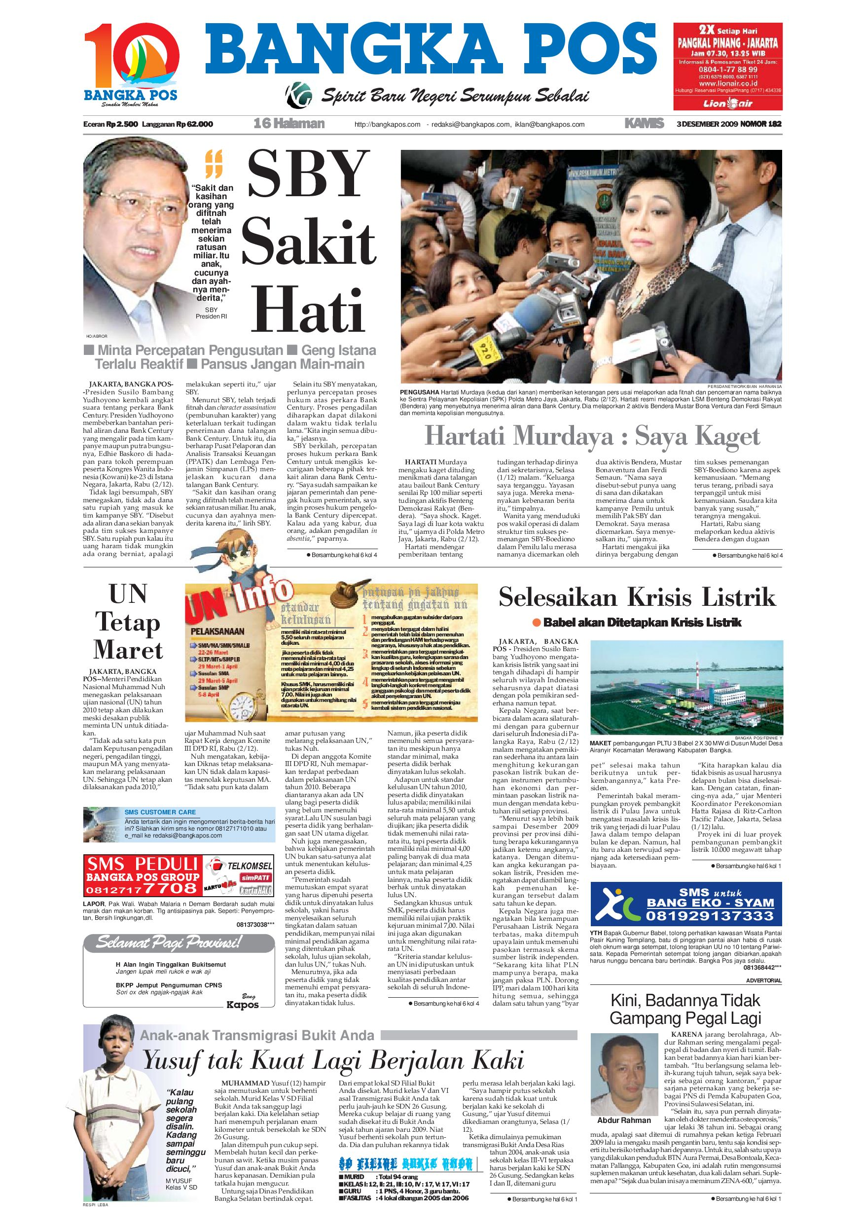 Harian Pagi Bangka Pos Edisi 03 Desember 2009 By Issuu Jam Tangan Qampampq A170 Original Bergaransi