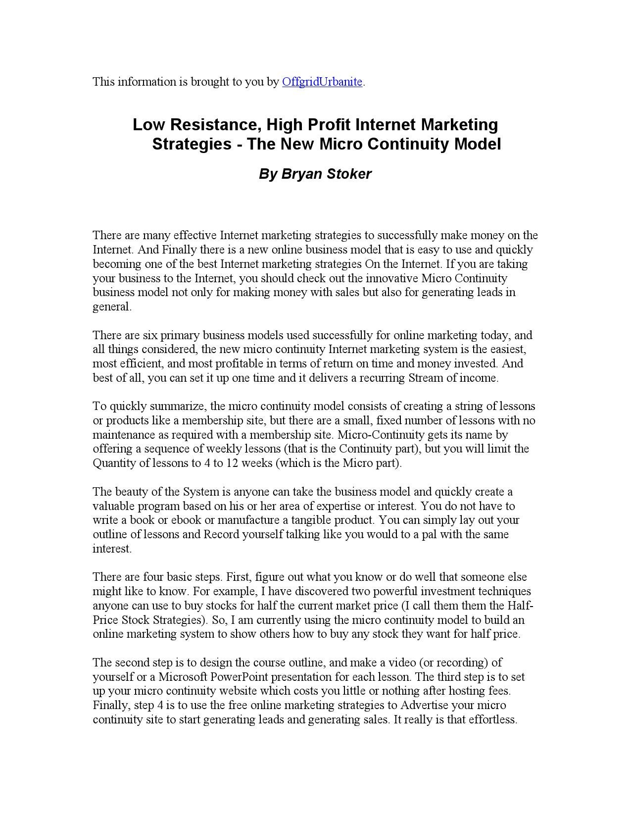 Low Resistance, High Profit Internet Marketing Strategies by