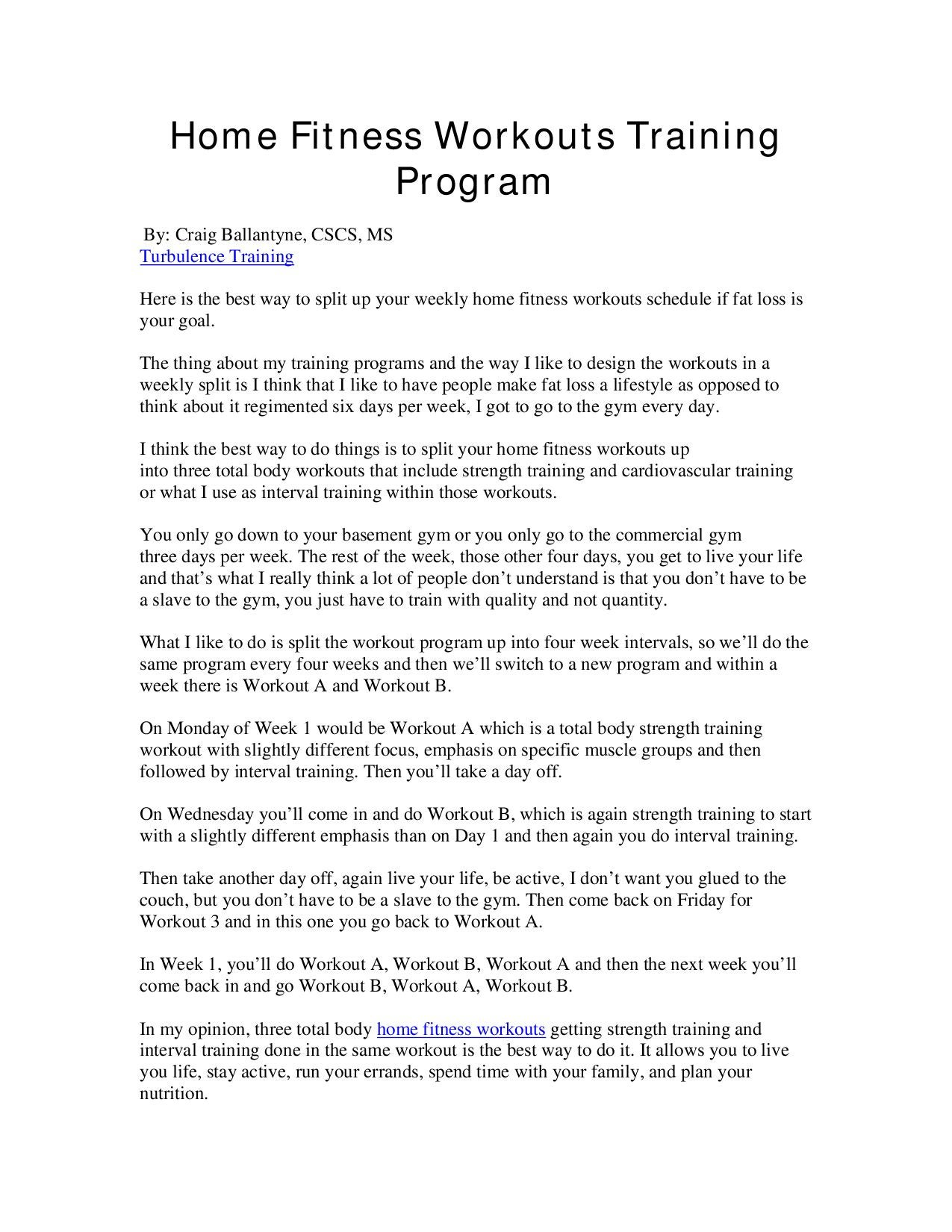 Home Fitness Workouts Training Program By James Thompson Issuu