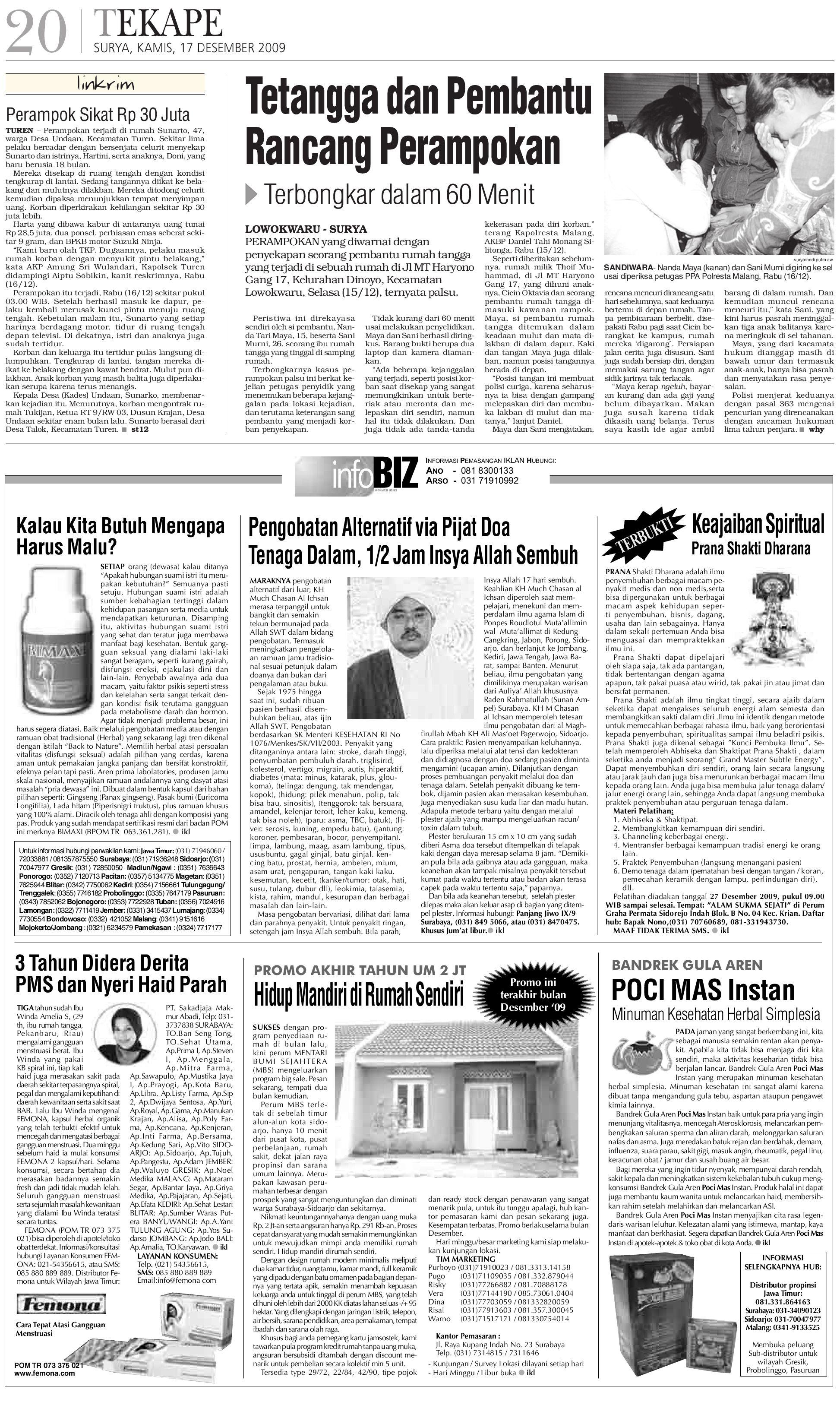Surya Edisi Cetak 17 Des 2009 By Harian Issuu Bendrat Ajaib