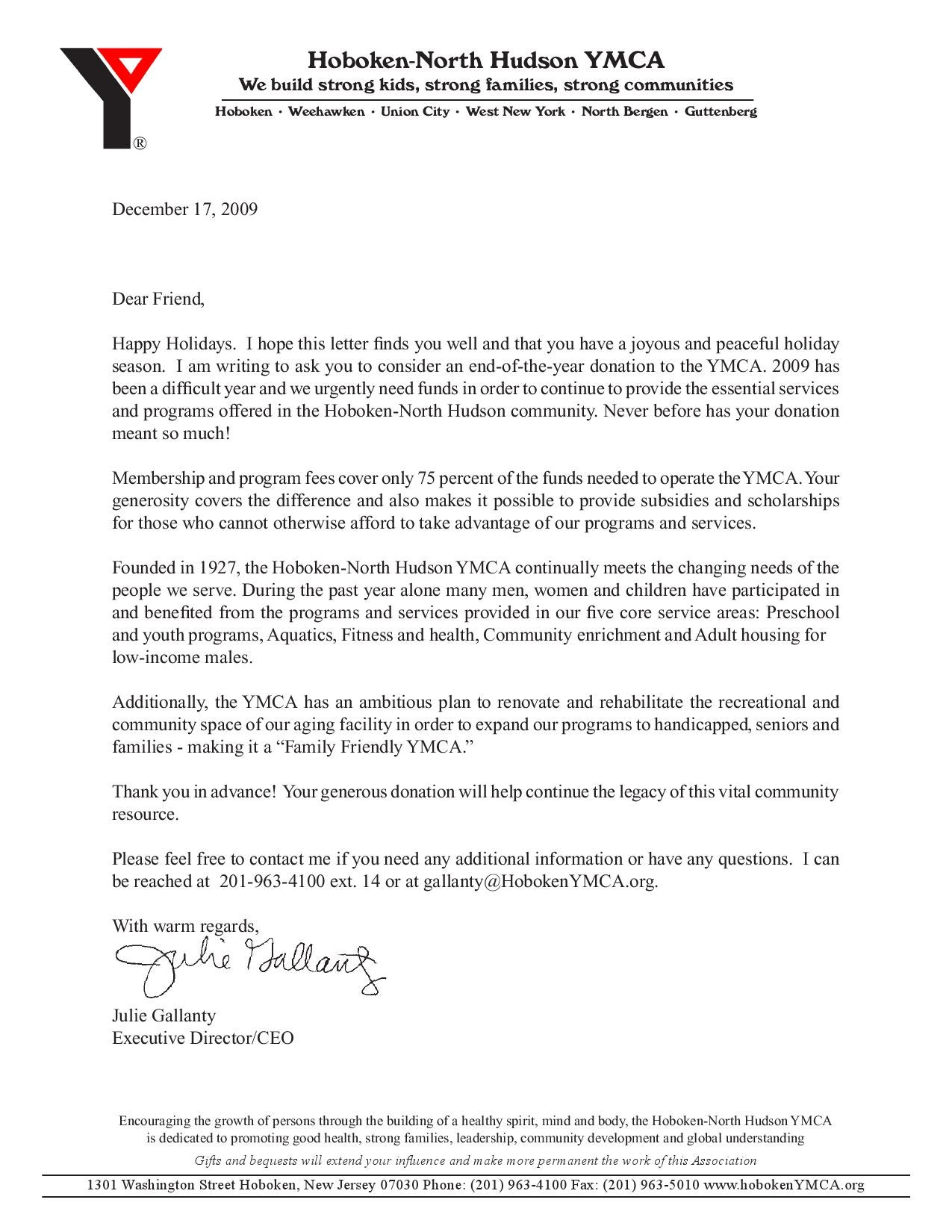 Hoboken North udson YMCA end of year Letter 2009 by The Hoboken