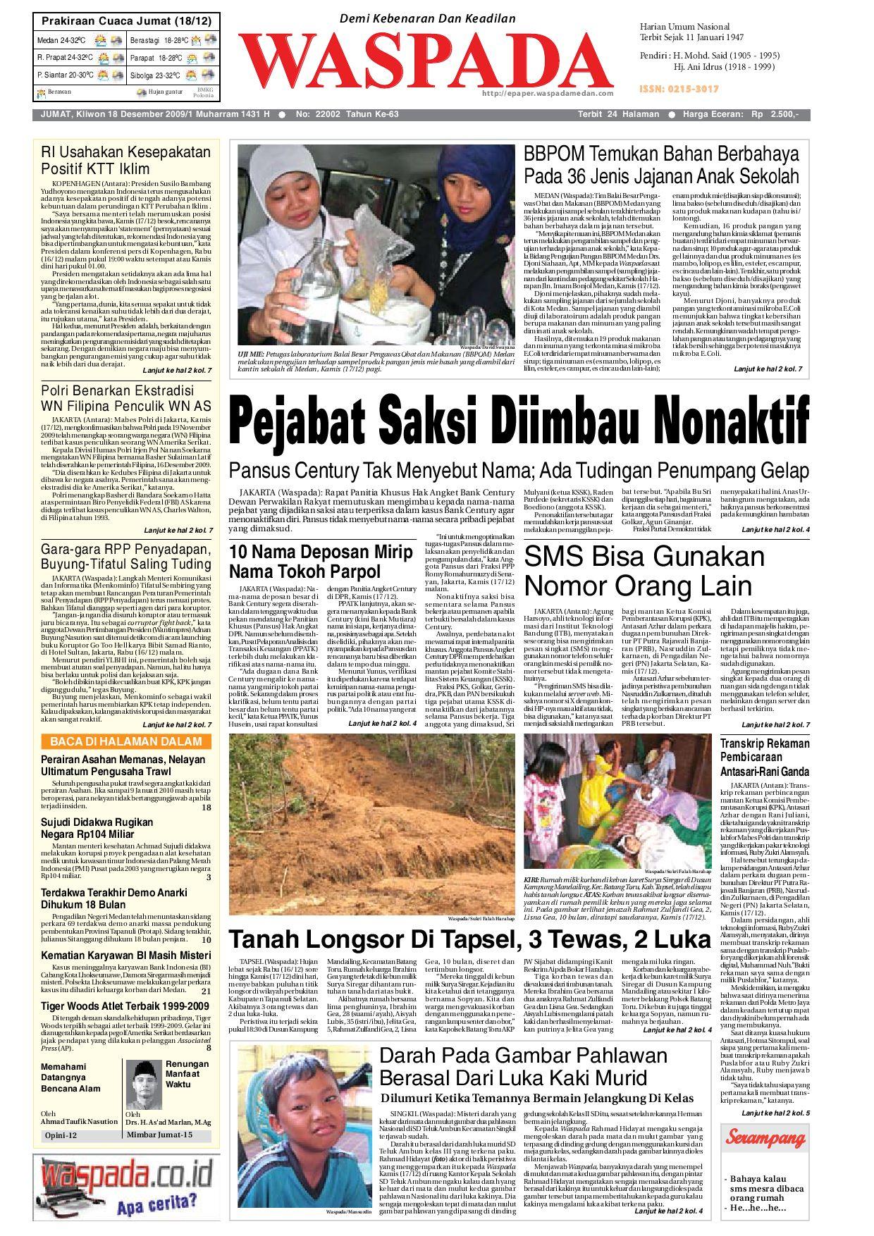 Waspada Jumat 18 Desember 2009 By Harian Waspada Issuu