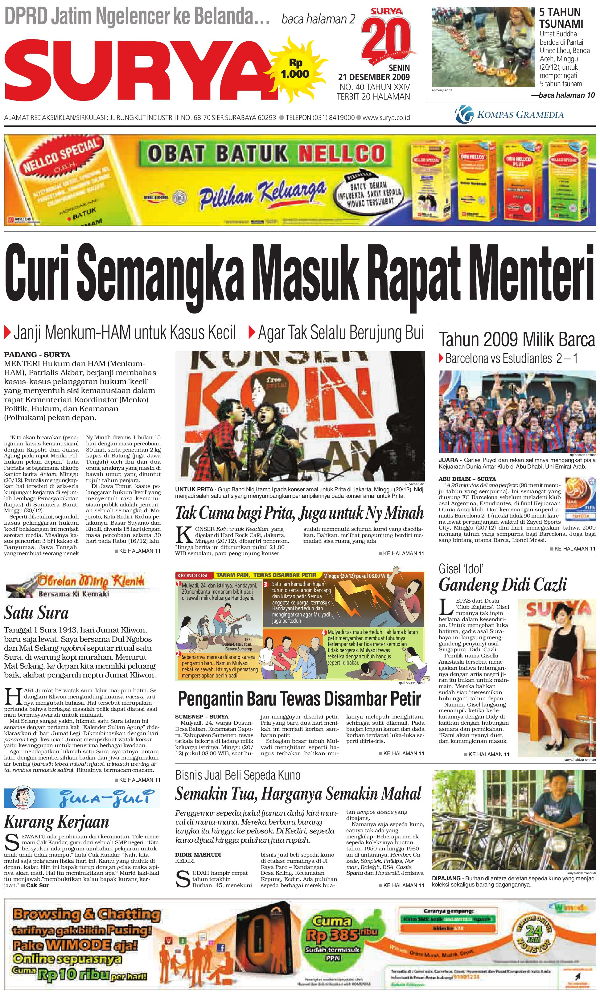 Surya Edisi Cetak 21 Des 2009 By Harian SURYA Issuu
