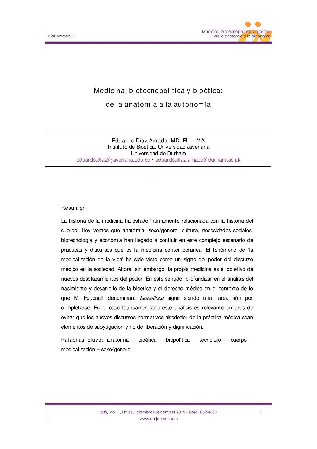 Medicina, biotecnopolítica y bioética:de la anatomía a la autonomía ...