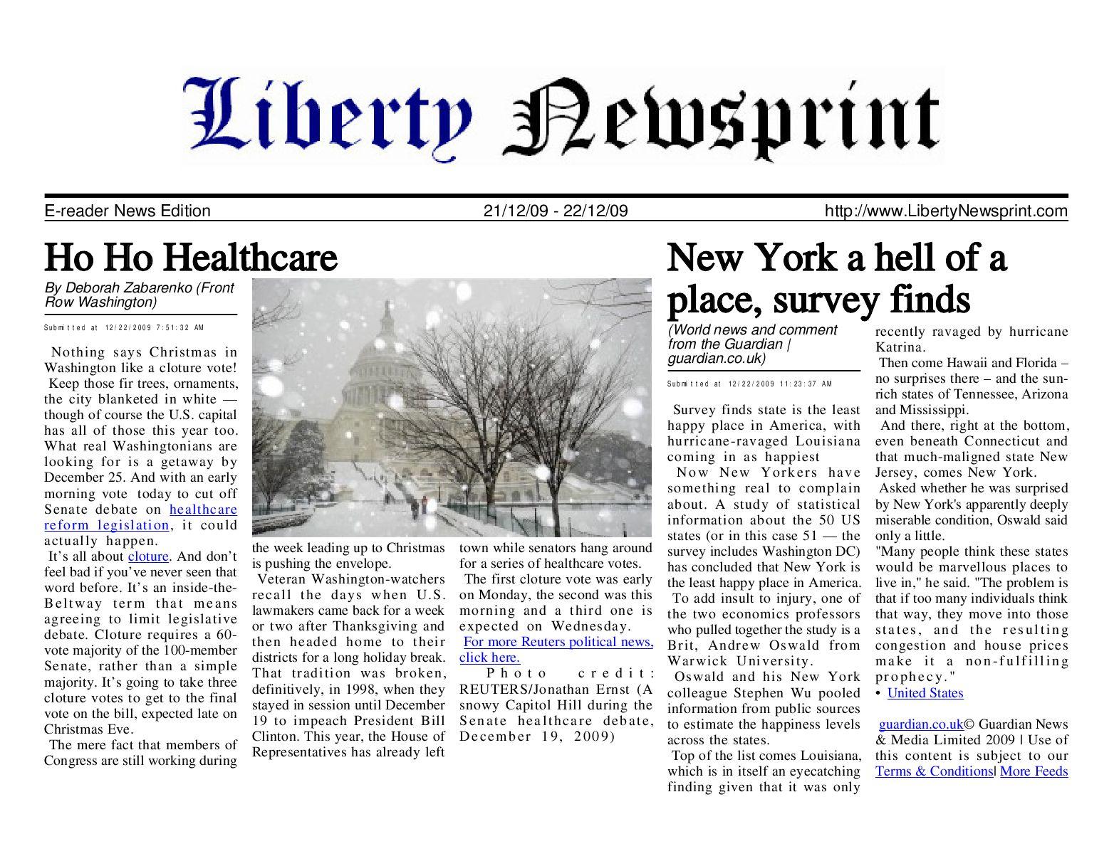 d75d5da3e5d Liberty Newsprint Dec-22-09 by Liberty Newspost - issuu