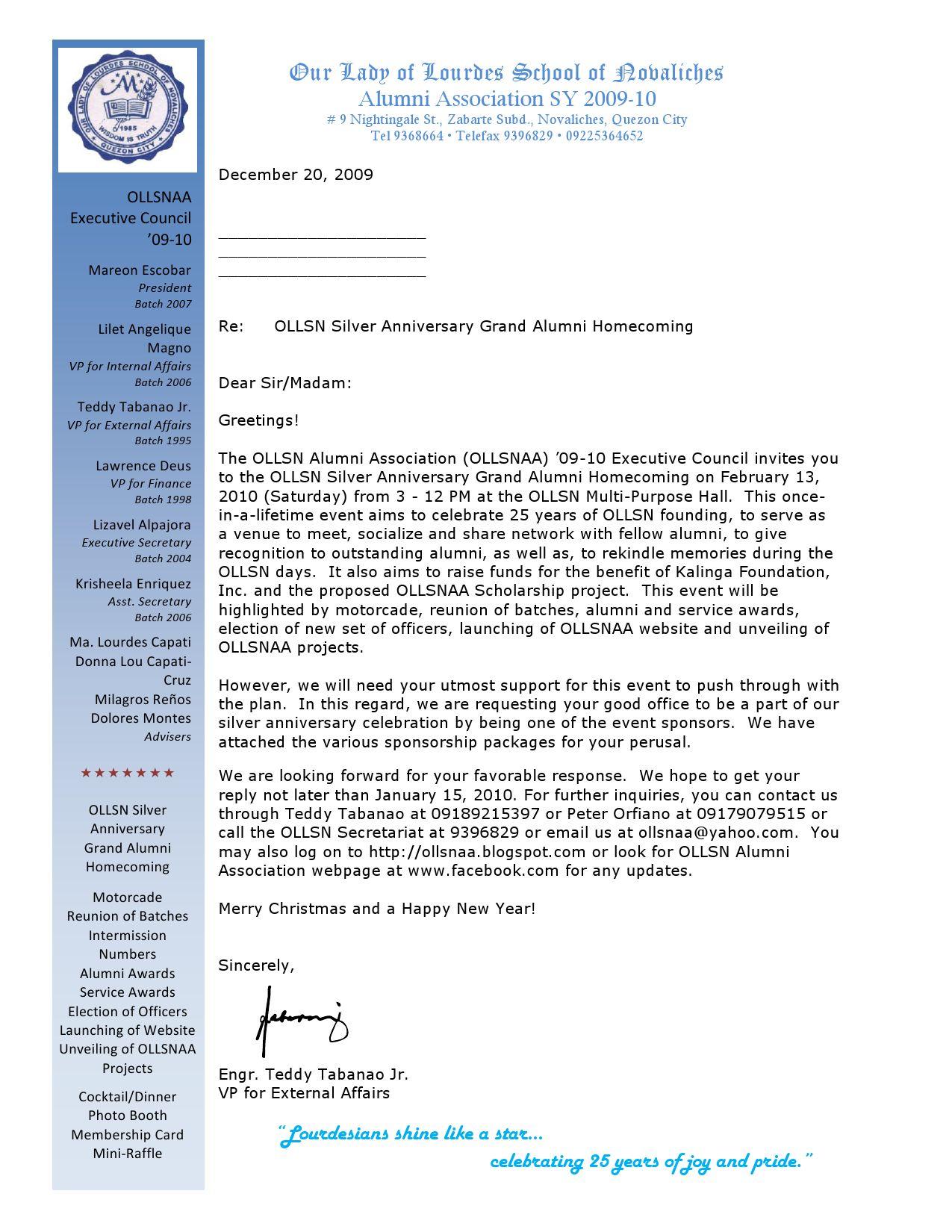 ollsn alumni homecoming sponsorship letter by ollsn alumni