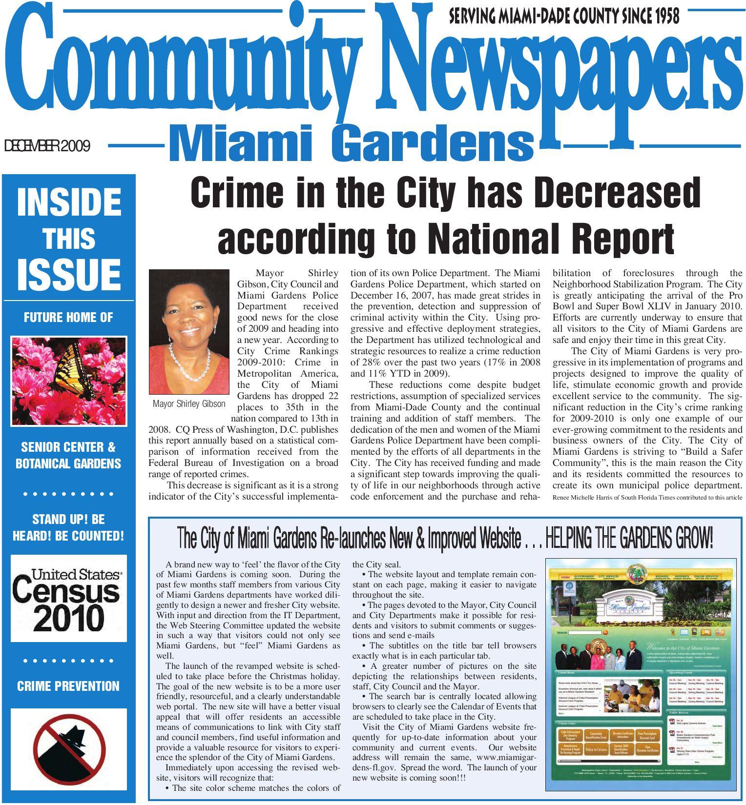 Miami Gardens, December 2009, Legal Edition - local news
