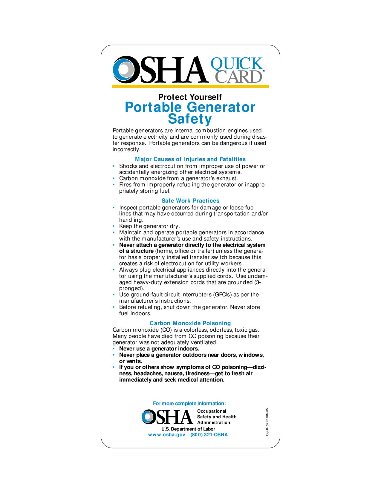 portable generator safety quickcard u2122 osha 3277