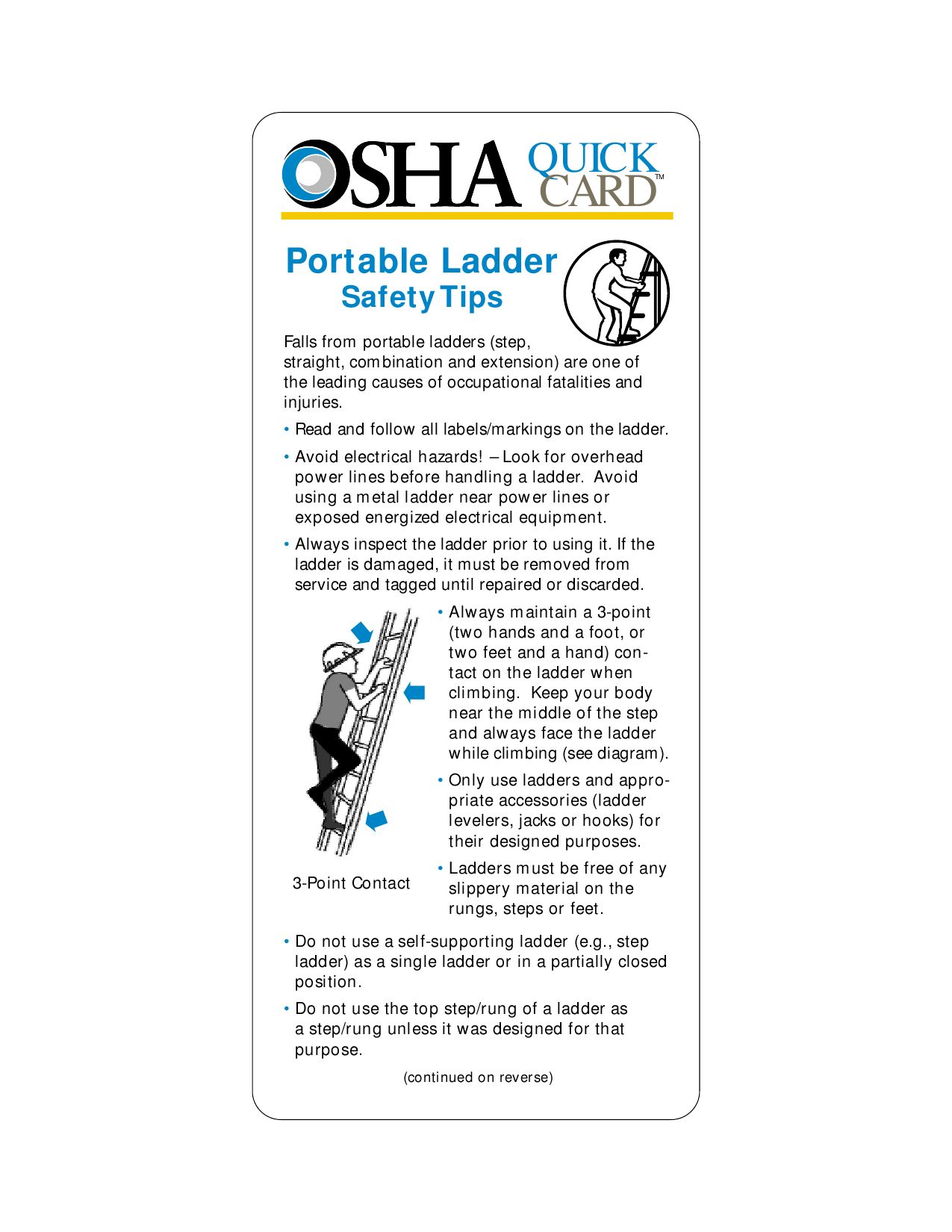 Portable ladder safety quickcard osha 3246 by brian for Ladder safety tips