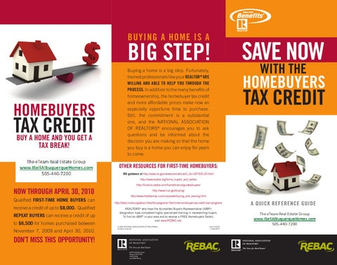 New Home Buyer Tax Credit By Linda DeVlieg Real Estate   Issuu