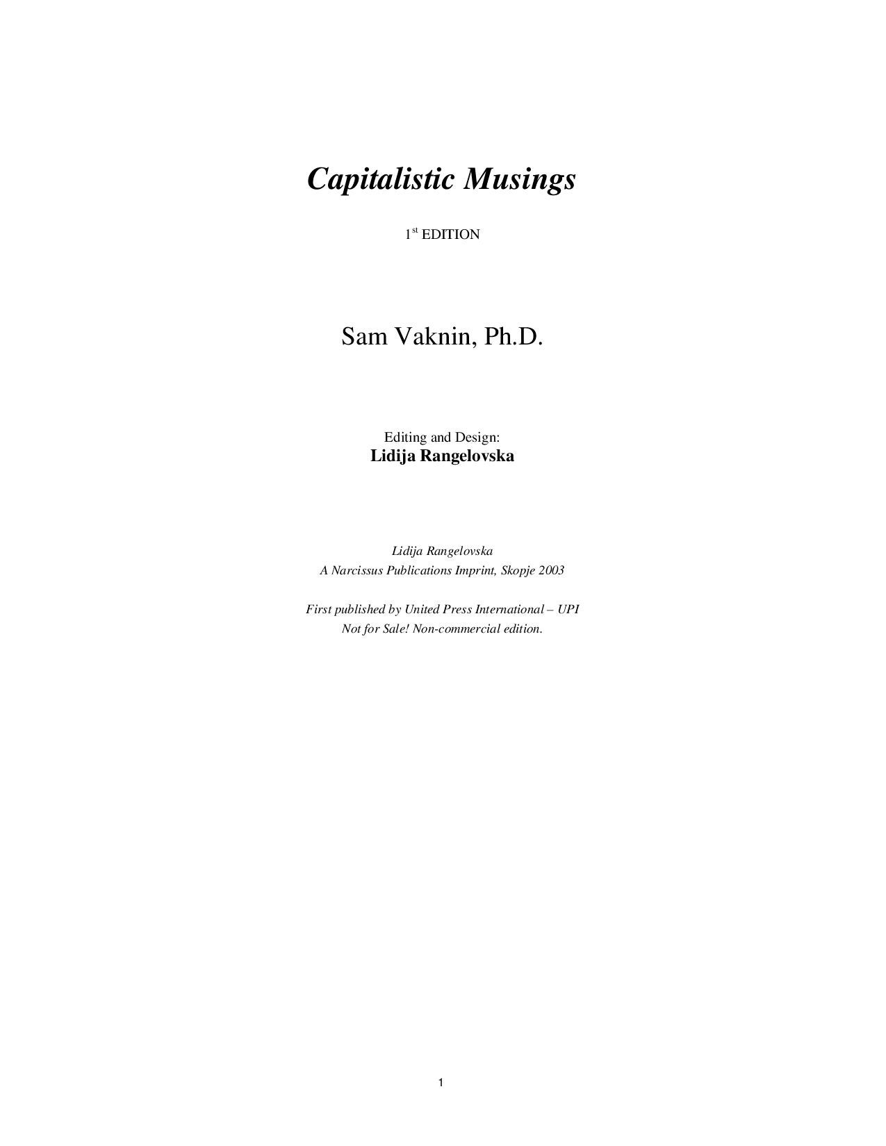 Capitalistic musings by sam vaknin issuu fandeluxe Image collections