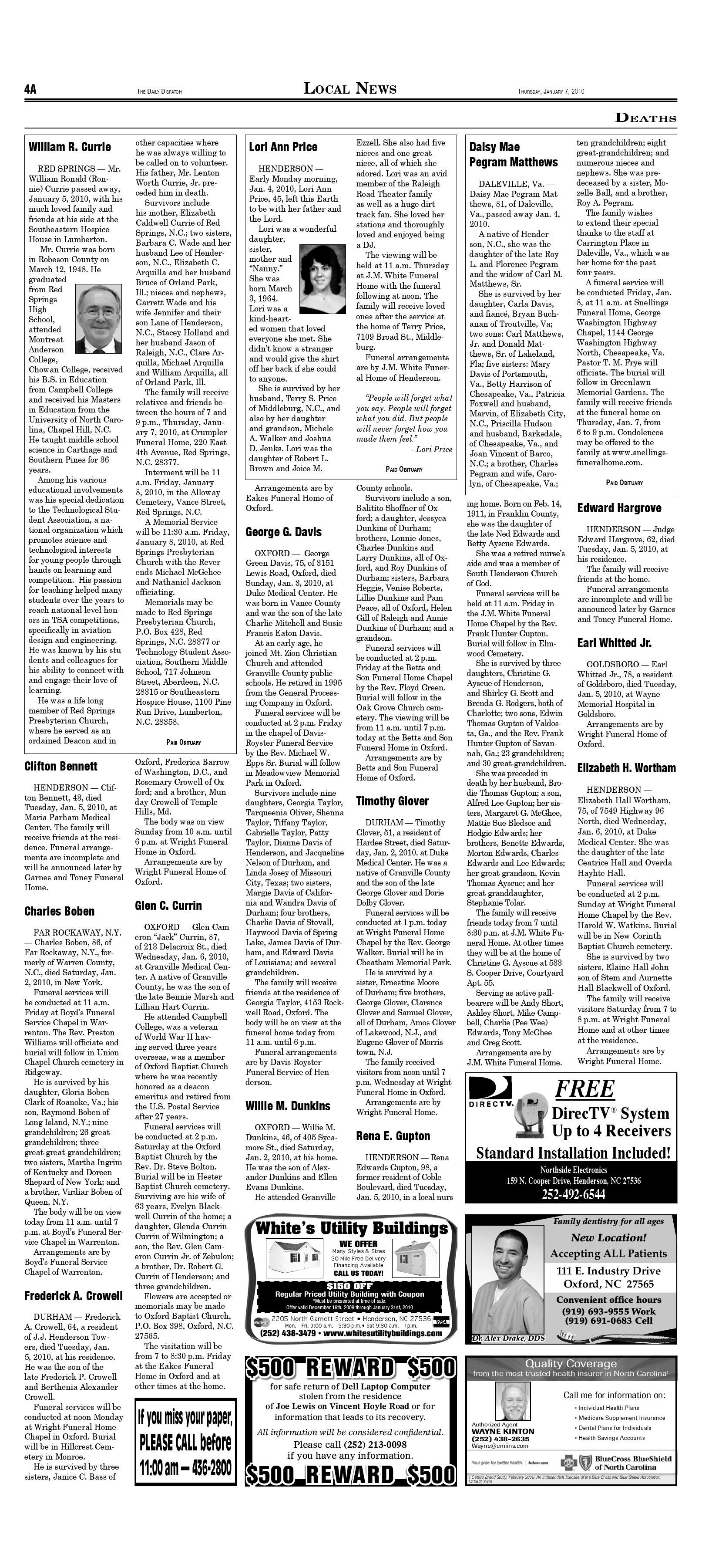 The Daily Dispatch - Thursday, January 7, 2010