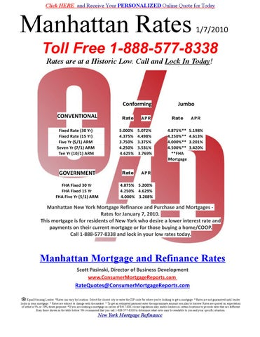 Refinance Rates Today >> 1 7 2010 Manhattan New York Mortgage Refinance And Purchase