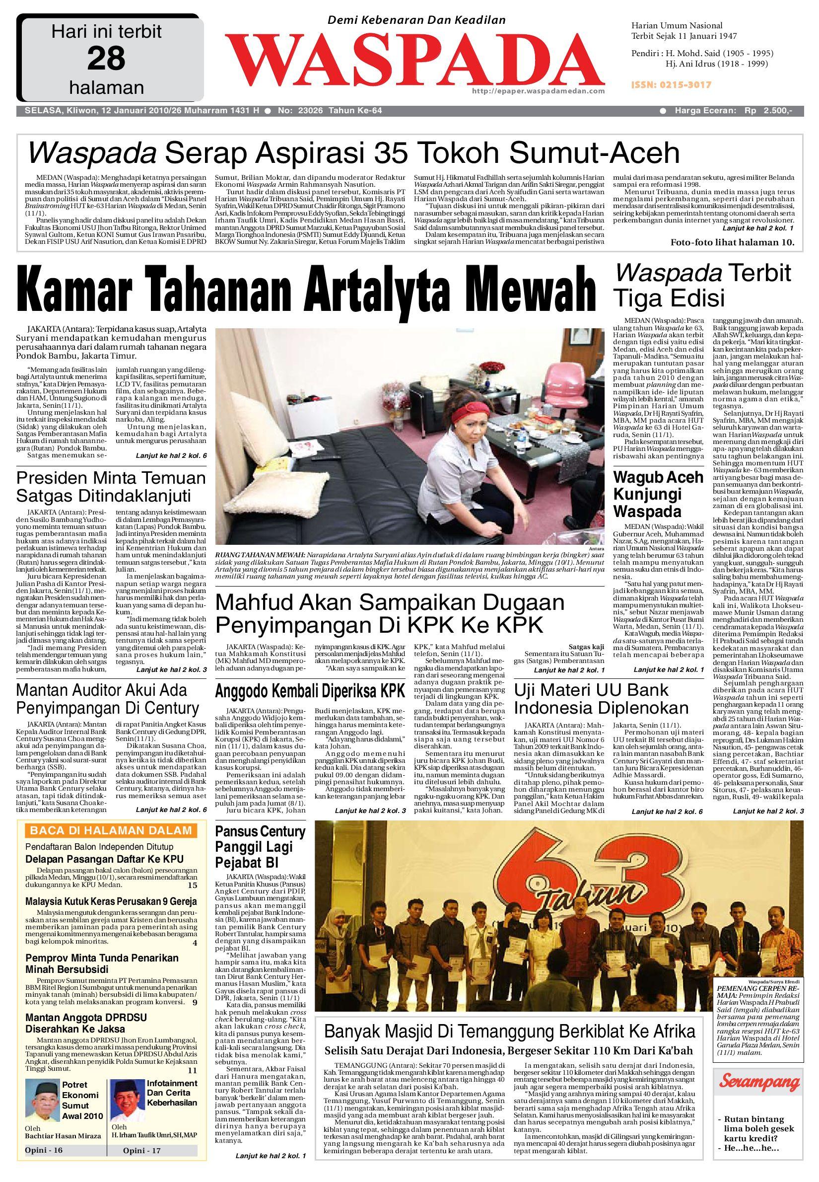 Waspada Selasa 12 Januari 2010 By Harian Waspada Issuu