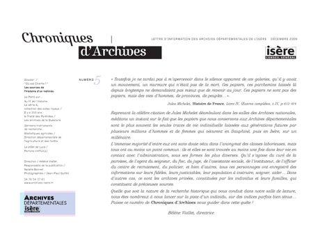 Chroniques d'Archives numéro 5 by Direction de la culture et