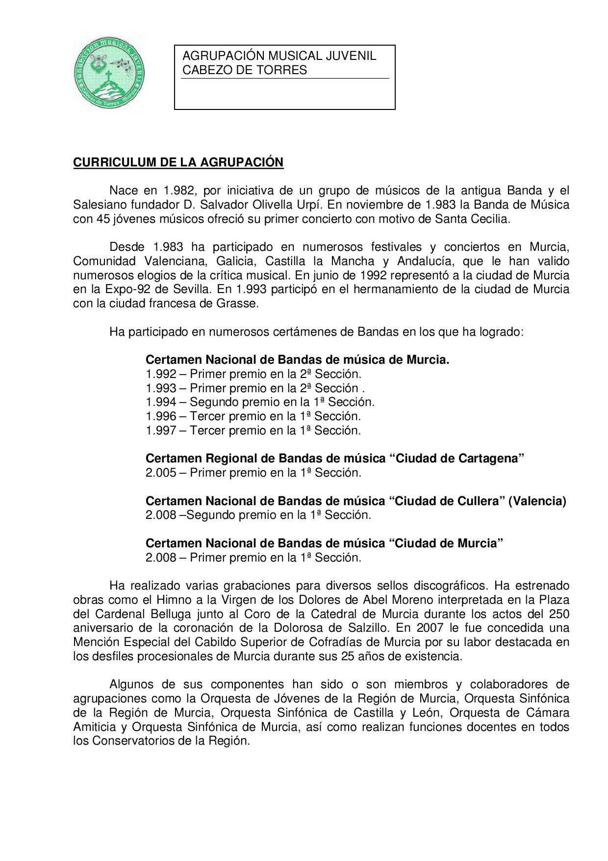 Curriculum Banda de Música by Agrupacion Musical - issuu