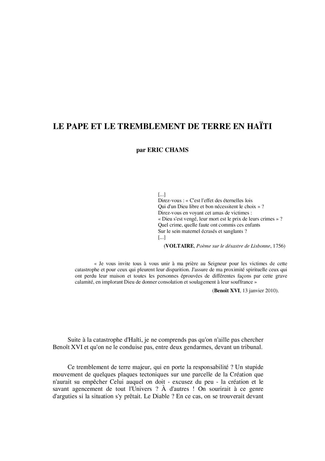 Le Pape Et Le Séïsme En Haïti Par Eric Chams 2010 By