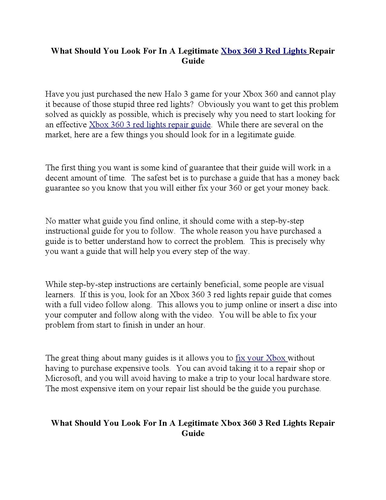 WRG-1669] Xbox 360 3 Red Light Repair Instructions