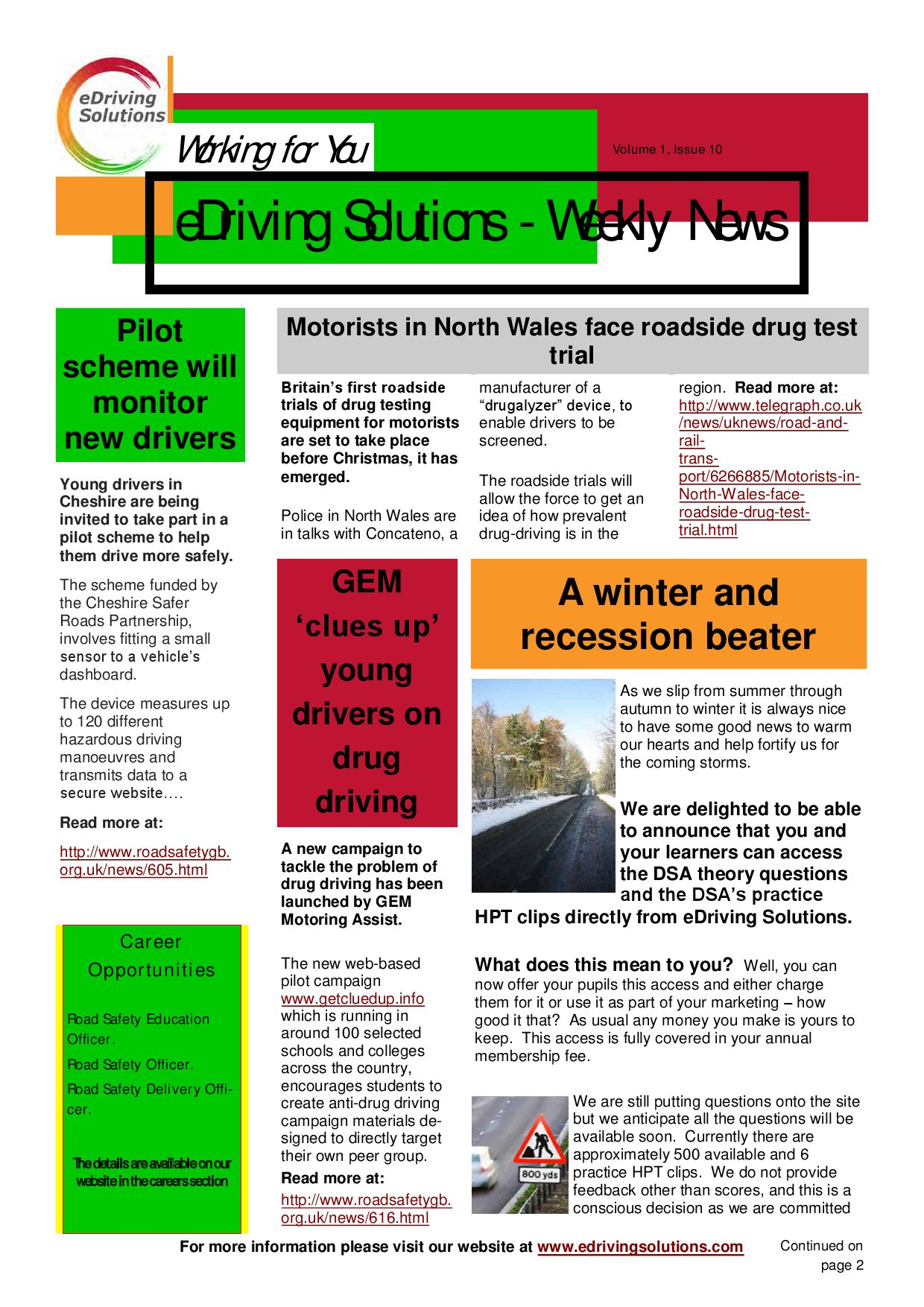 Newsletter Volume 1 Issue 10 - 07/10/09 by eDriving