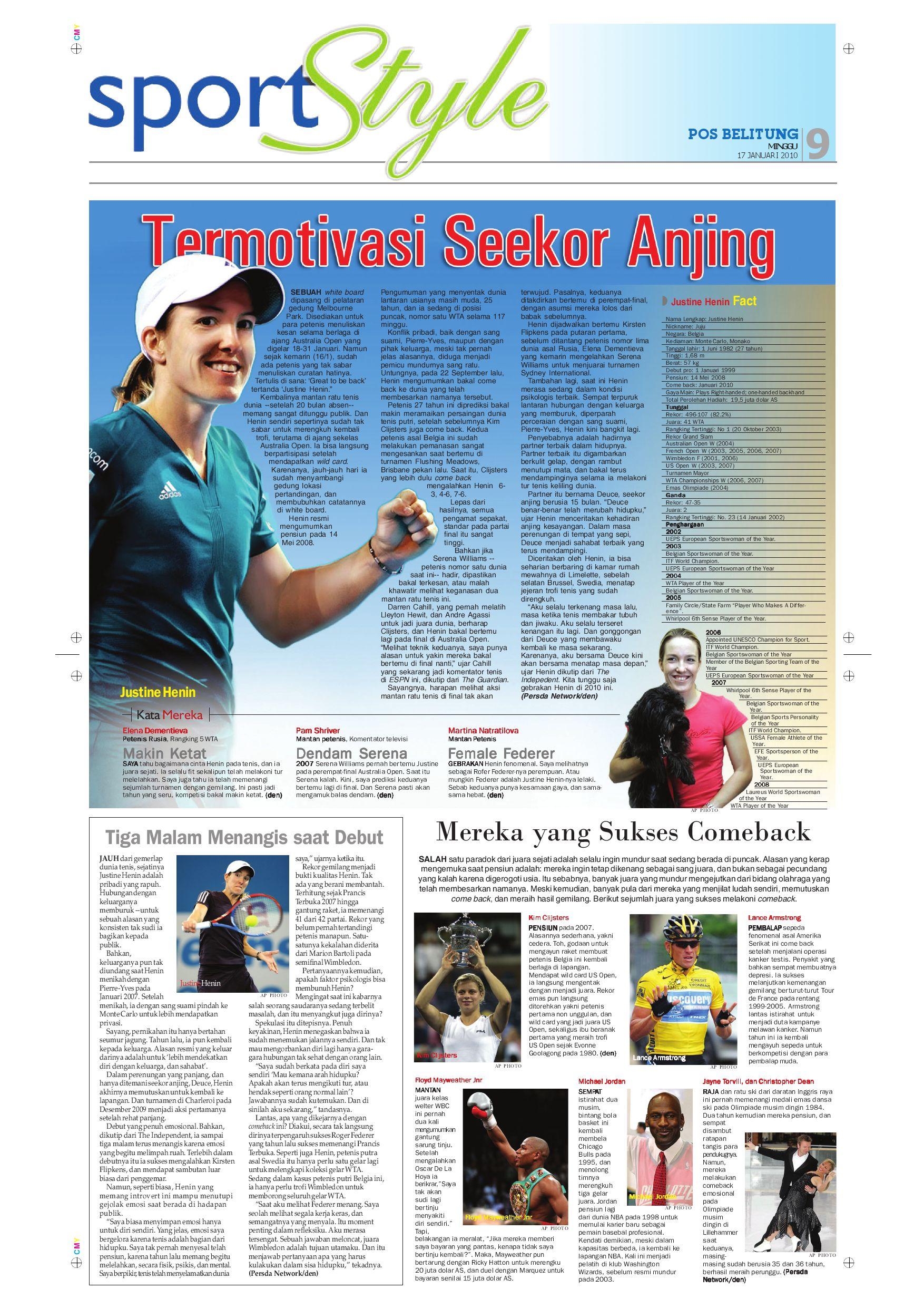 Harian Pagi Bangka Pos Edisi 17 Januari 2010 By Issuu Ratu Tenis