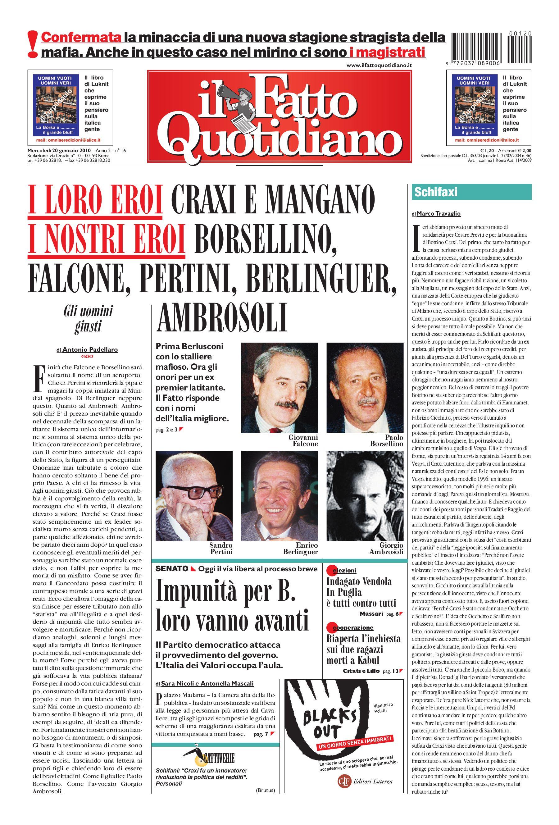 Il Fatto Quotidiano (20 Gennaio 2010) by Luigi Bosco - issuu d5d144f4d13