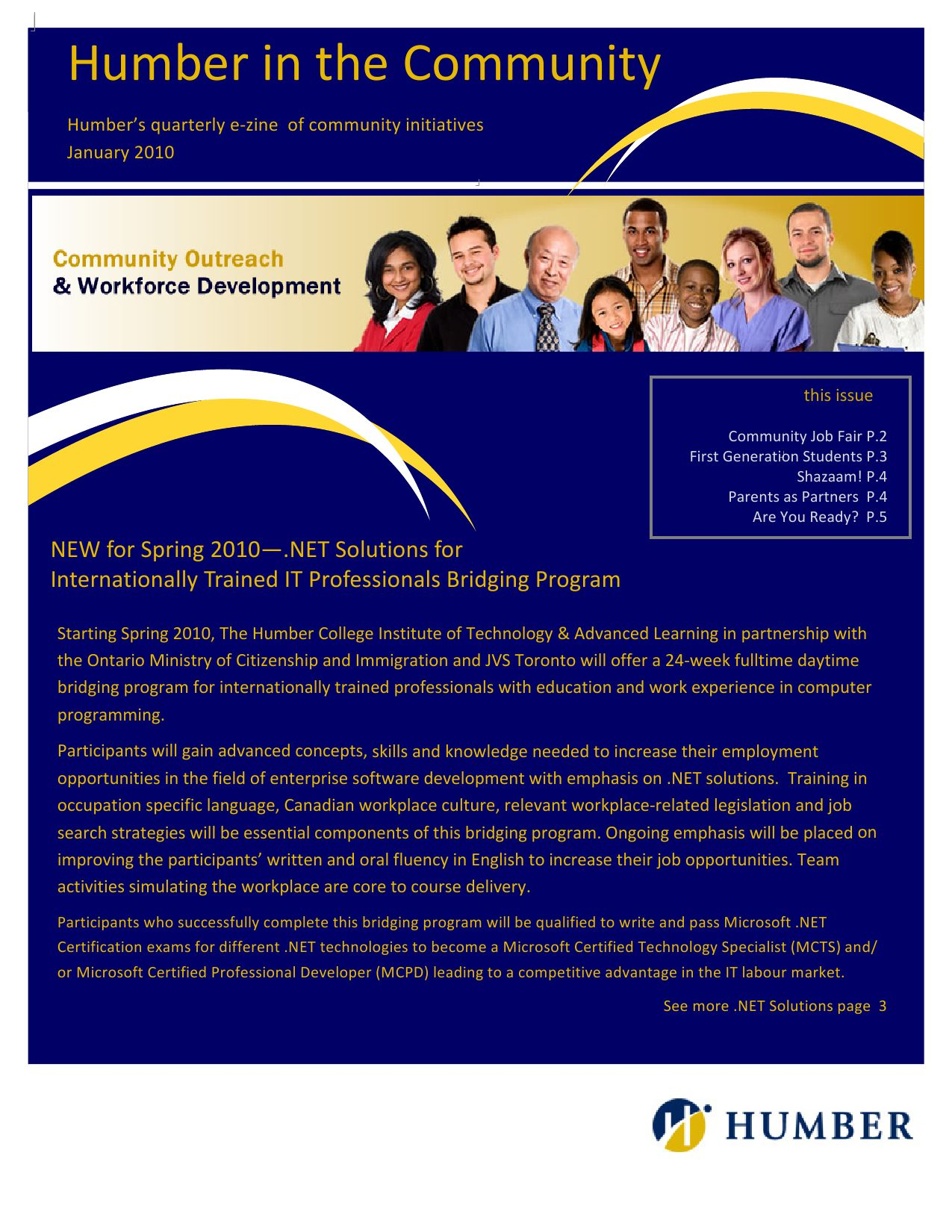 Humber Community Outreach Workforce Development January Newsletter