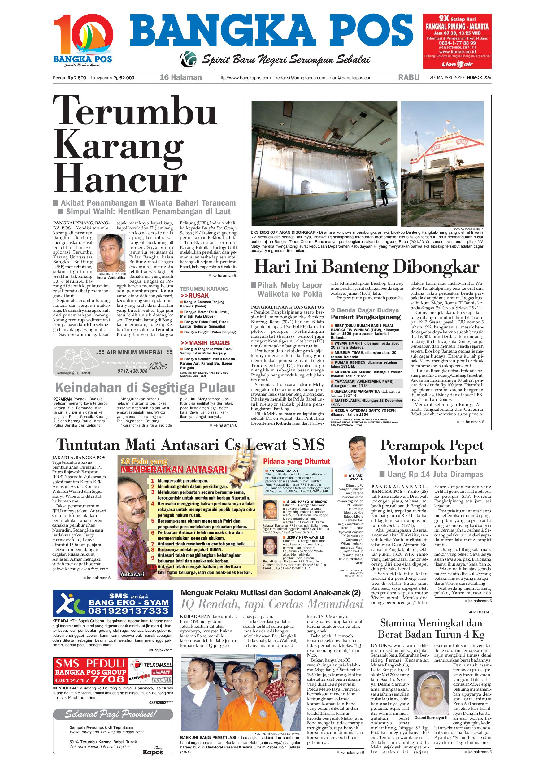 Harian Pagi Bangka Pos Edisi 20 Januari 2010 By Bangka Pos Issuu