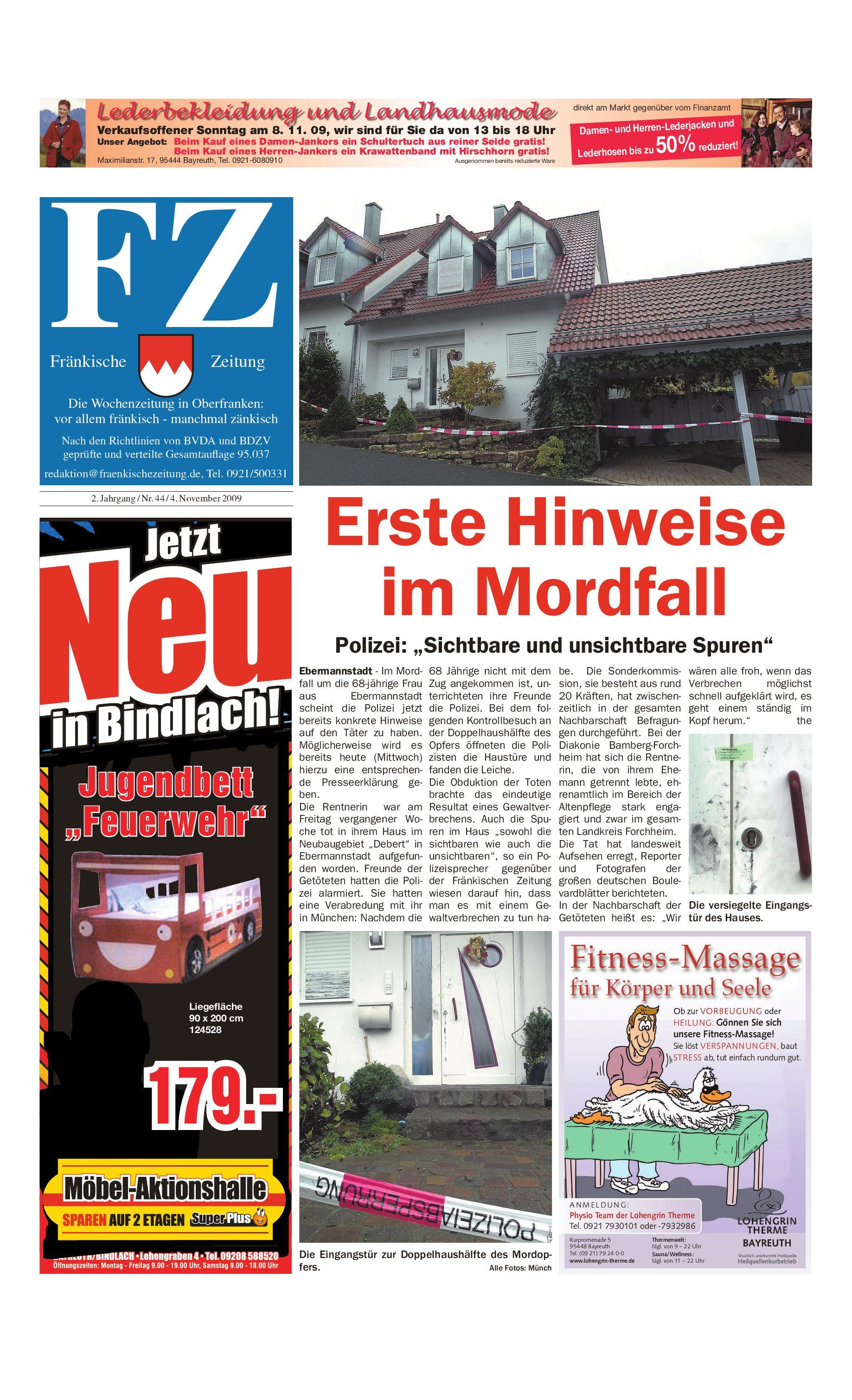 Fränkische Zeitung vom 04.11.2009 by Nordbayerischer Kurier