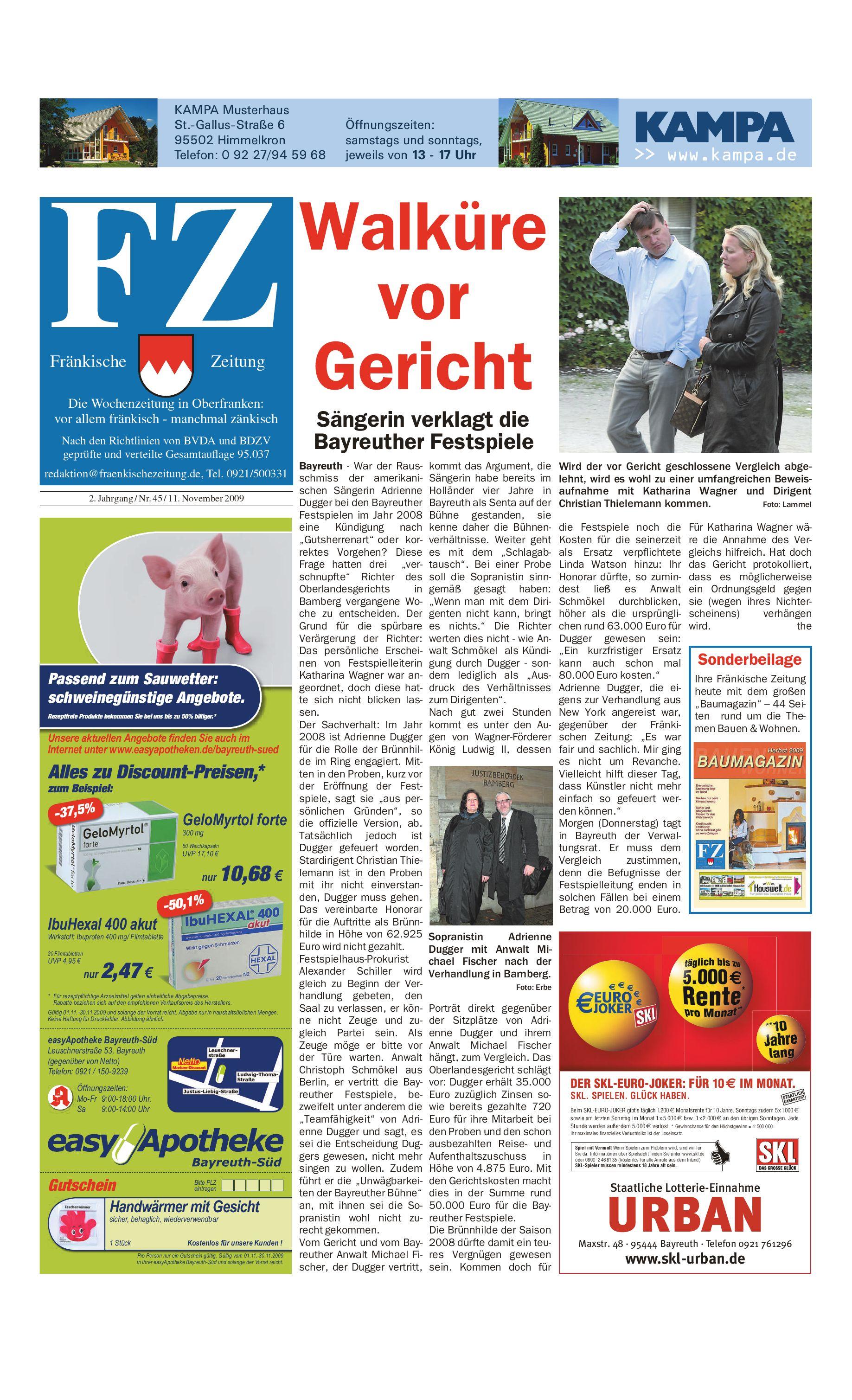 Fränkische Zeitung vom 11 11 2009 by Nordbayerischer Kurier GmbH