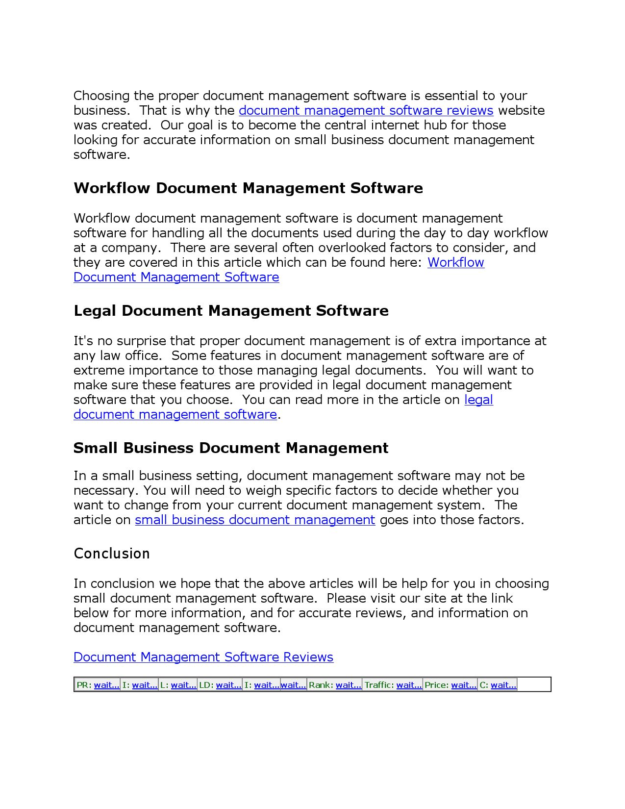 Articles On Document Management Software By - Legal documents for small business